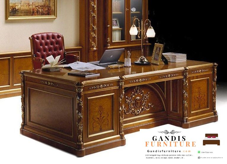 Meja kantor ukiran kayu jati