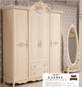 Lemari pakaian minimalis kayu solid duco putih