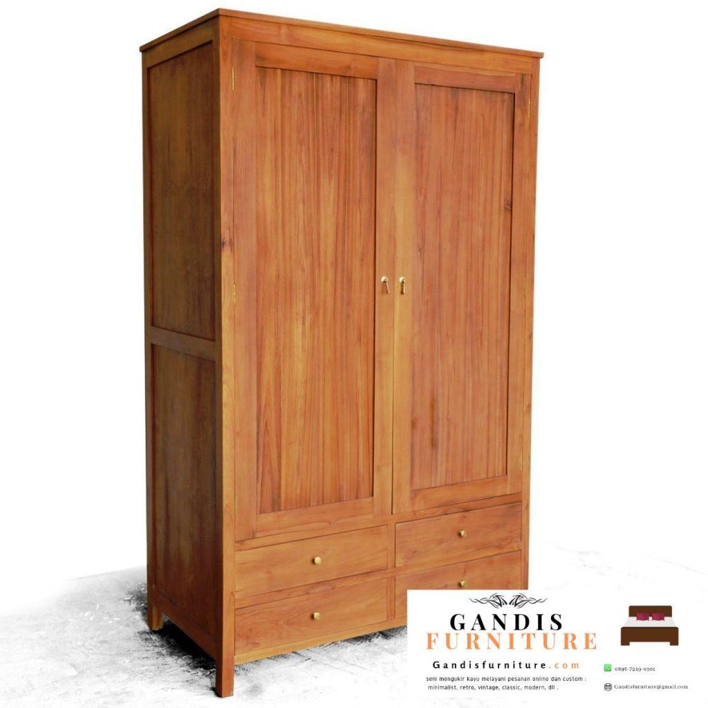 Lemari pakaian 2 pintu kayu