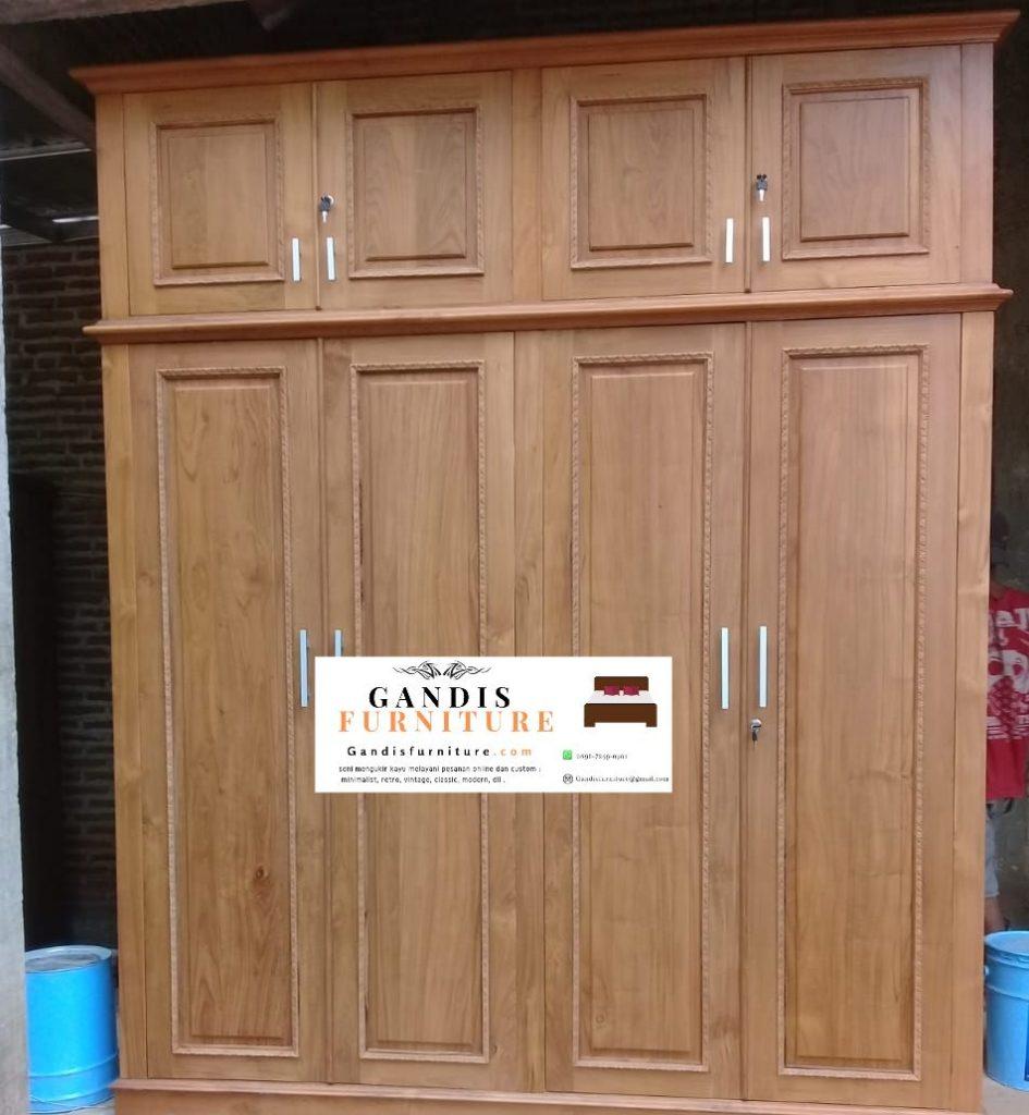 Lemari pakaian 4 pintu kayu