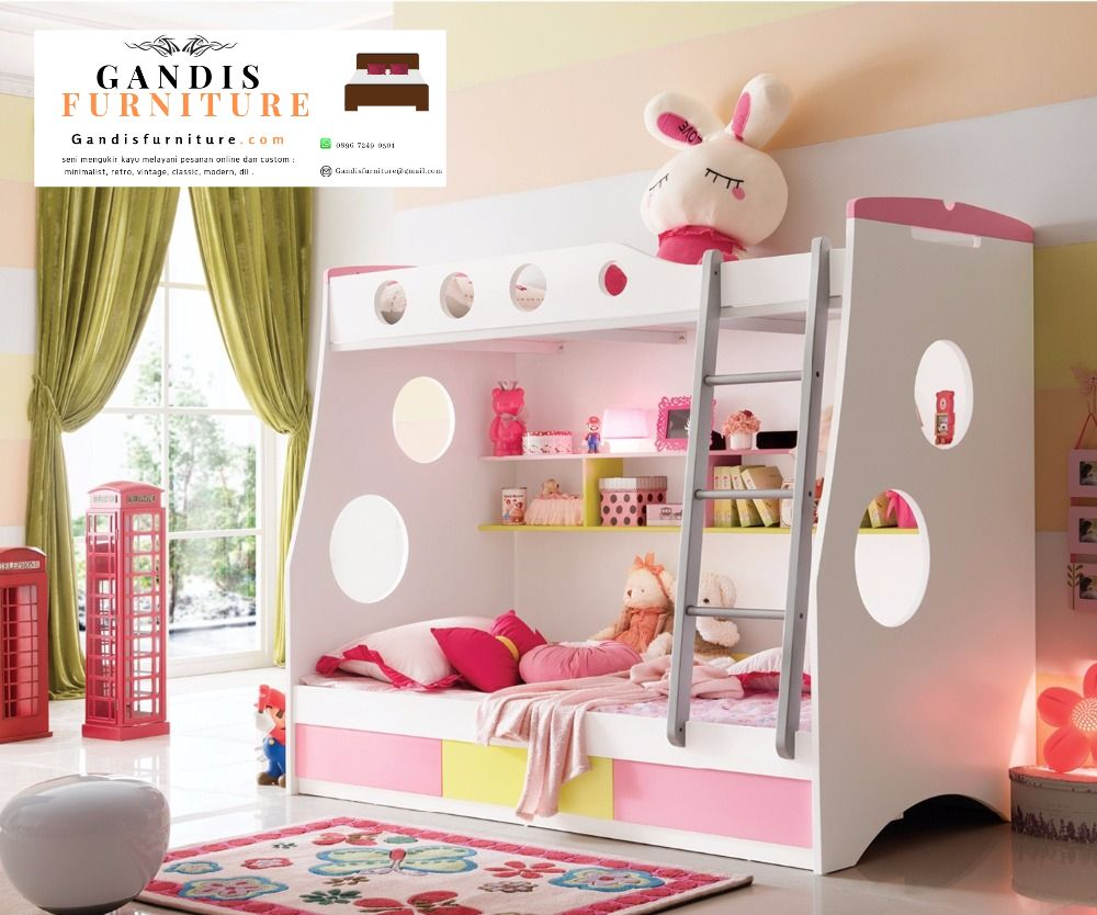 tempat tidur tingkat murah pink