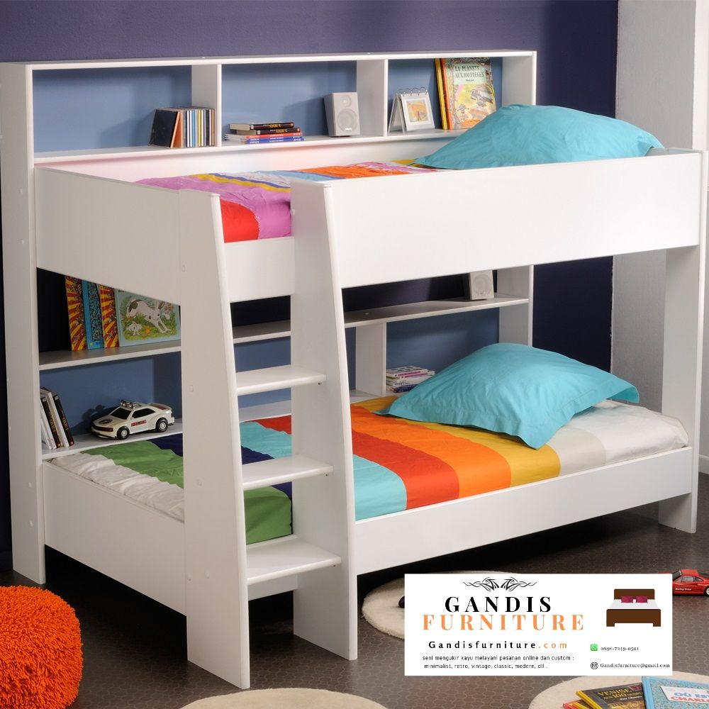 tempat tidur tingkat murah putih