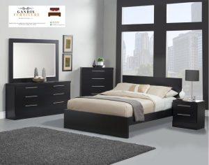 kamar set minimalis elegan hitam