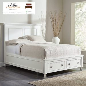 tempat tidur minimalis laci putih duco