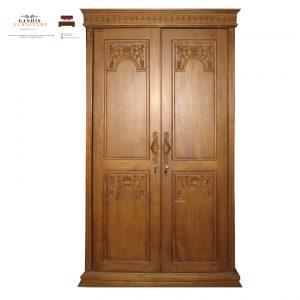 lemari pakaian kayu jati minimalis  2 pintu majapahit