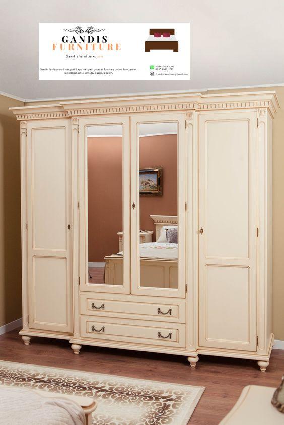 lemari pakaian kayu mewah 4 pintu