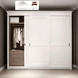 lemari pakaian minimalis kayu sliding 3 pintu