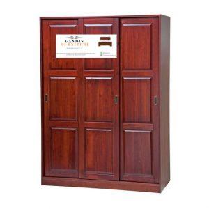 lemari pakaian kayu minimalis sliding 3 pintu