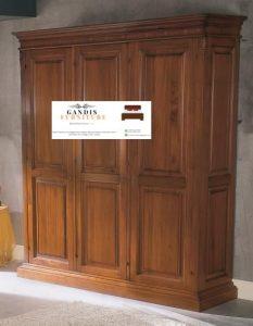 lemari pakaian minimalis 3 pintu kayu jati