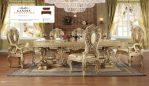 meja makan mewah klasik emas
