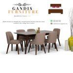 meja makan minimalis kayu 6 kursi