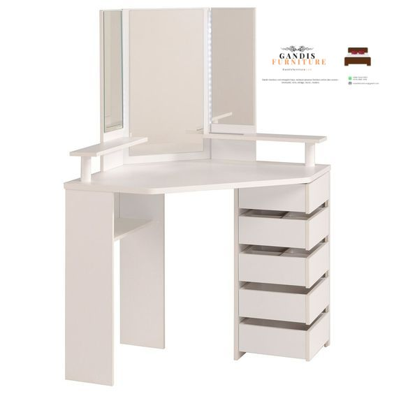 meja rias sudut minimalis putih
