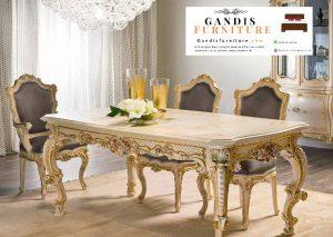 meja makan mewah emas klasik