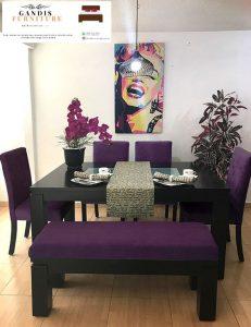 set meja makan modern minimalis kayu jati