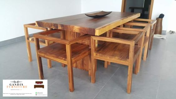 set kursi resto meja panjang kayu jati