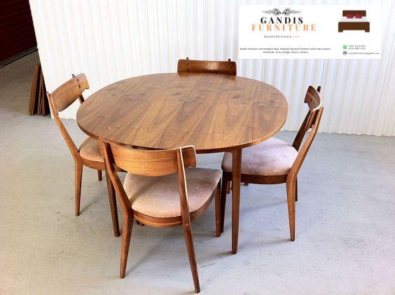 set kursi cafe kayu meja bulat