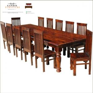 meja makan mewah minimalis kayu jati jepara 12 kursi