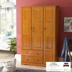 lemari pakaian kayu minimalis jati