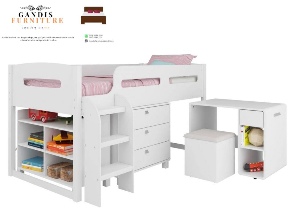 tempat tidur tingkat minimalis duco putih