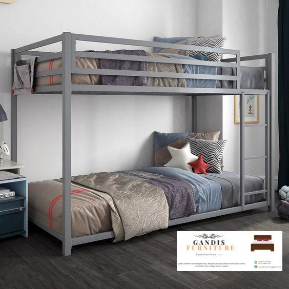 Tempat tidur tingkat murah abu abu