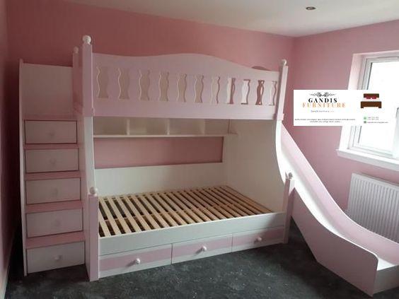 Tempat tidur tingkat anak murah warna pink
