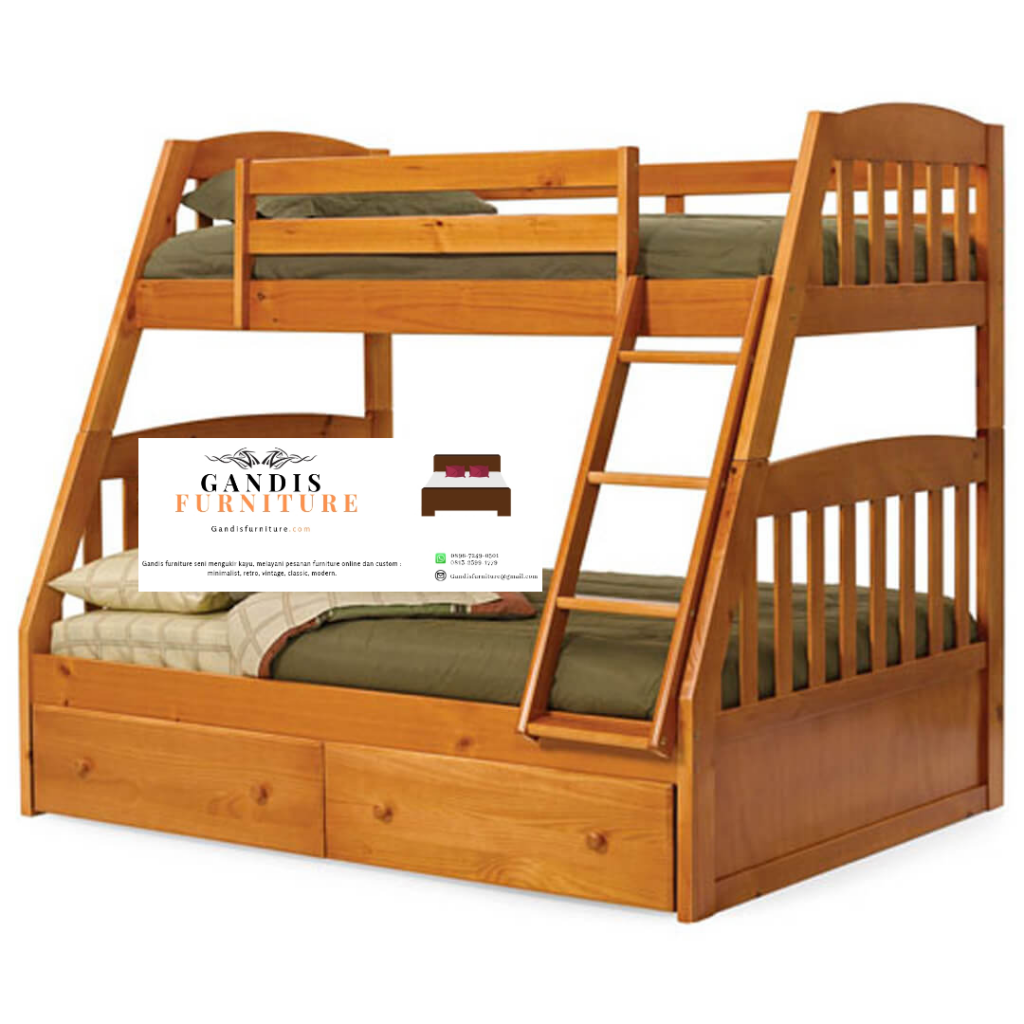 tempat tidur tngkat anak jati dengan finishing natural