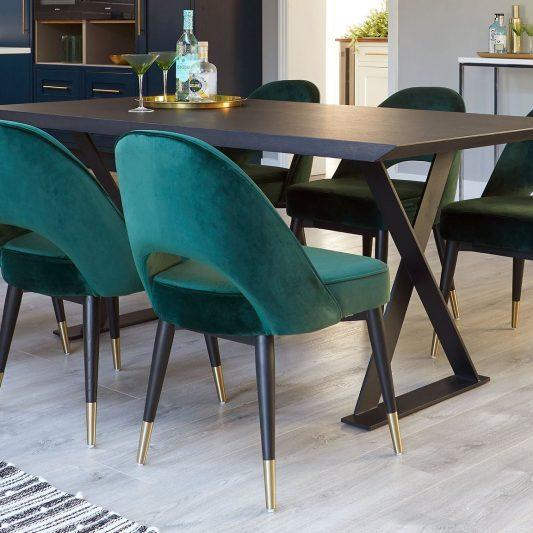 meja makan kaki besi 6 kursi