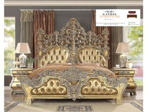 tempat tidur mewah classic warna emas