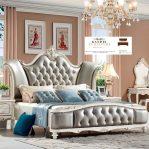 tempat tidur ukir mewah jati jepara duco putih