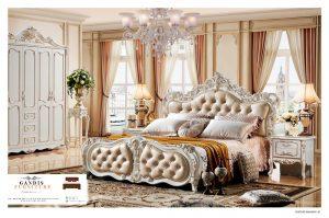 Tempat tidur ukir jepara kayu jati duco putih