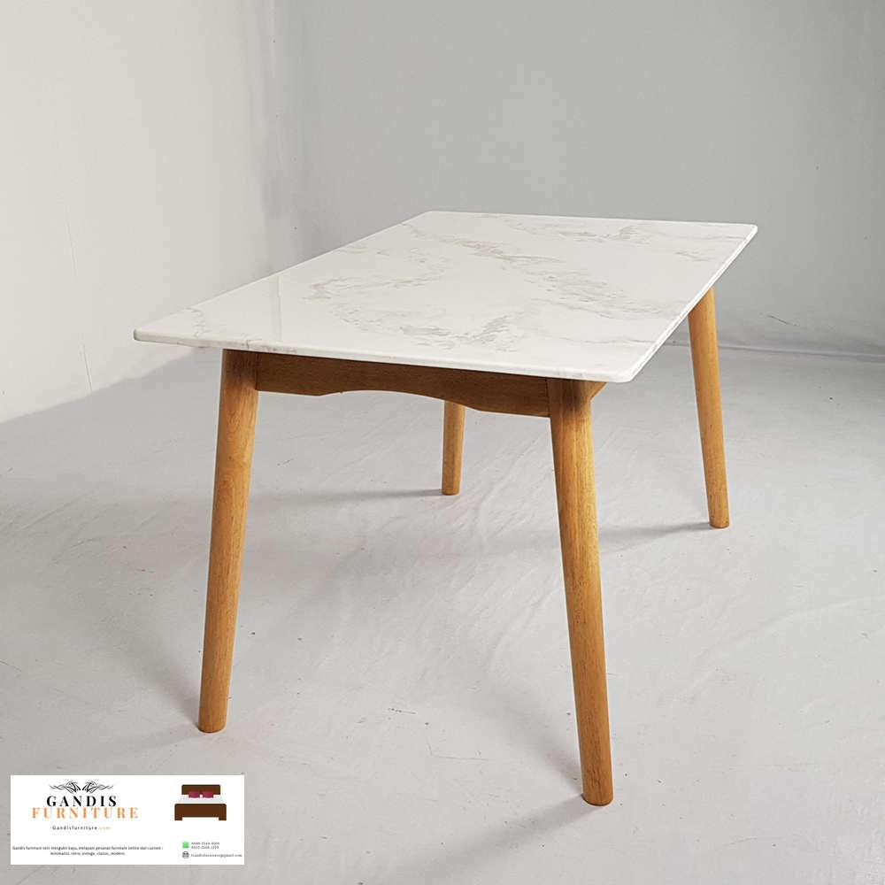 meja makan marmer minimalis putih