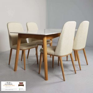 Meja makan minimalis marmer putih indah cararra