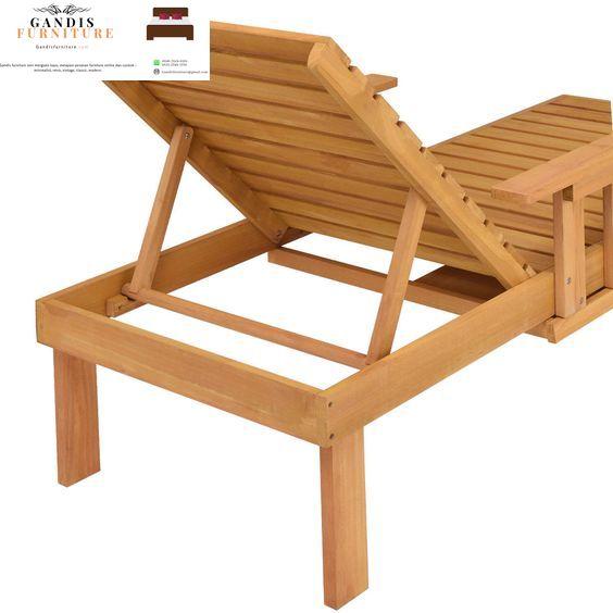kursi pantai lounger kayu jati