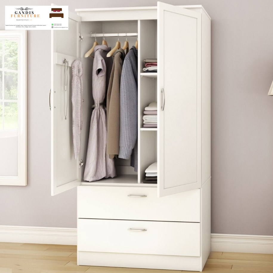 lemari pakaian 2 pintu putih