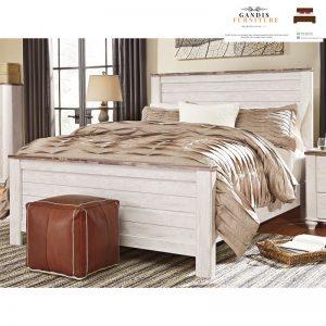 tempat tidur white wash rustic