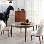 Meja makan marmer minimalis putih indah cararra