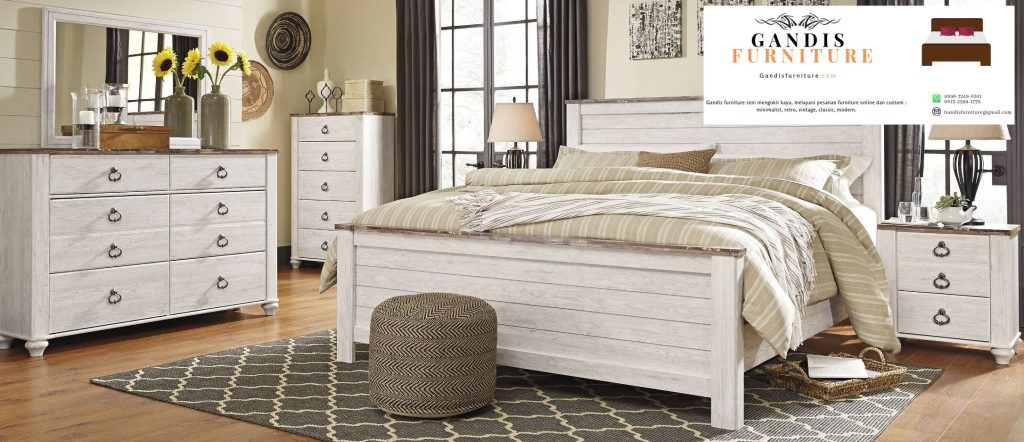 tempat tidur white wash