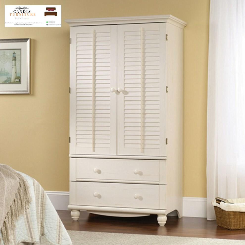 lemari pakaian putih 2 pintu