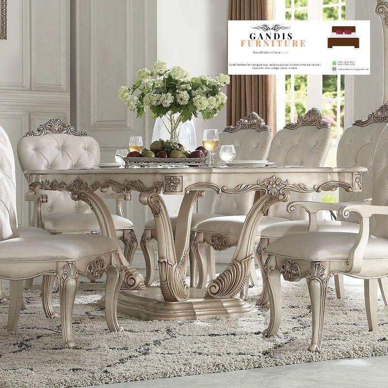 meja makan putih classic mewah ukiran