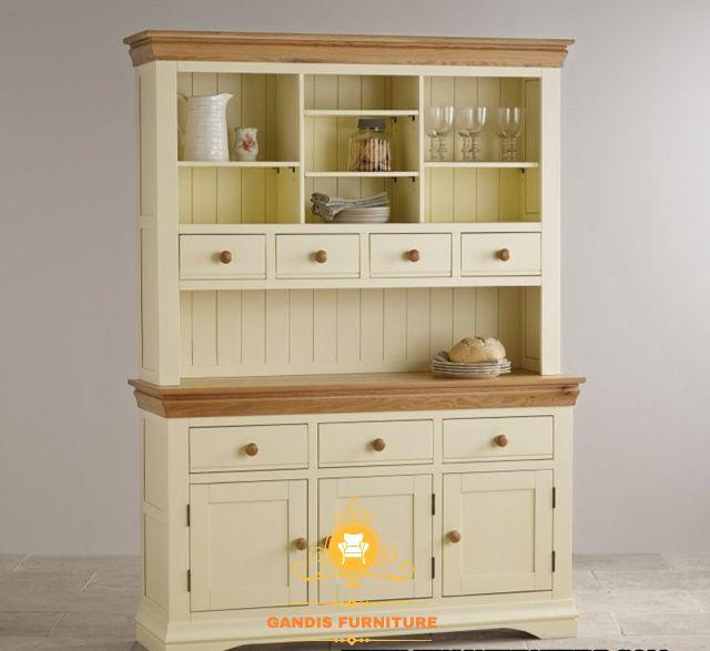 lemari dapur kayu jati warna putih