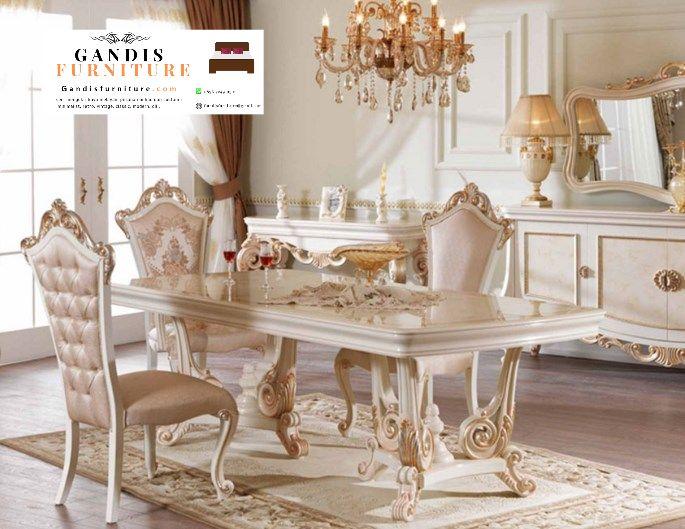 meja makan putih mewah