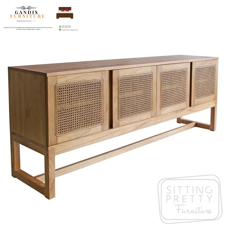 drawer minimalis rotan alami