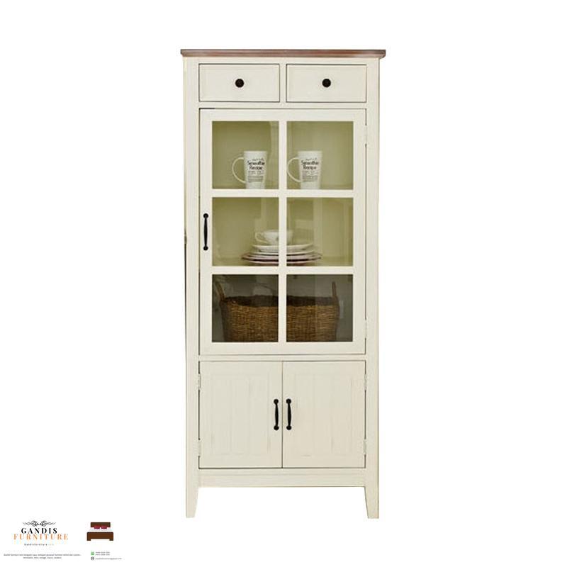 lemari dapur kayu jati warna puti