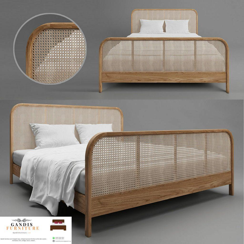 tempat tidur rotan alami