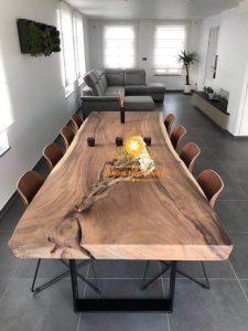 meja trembesi kayu solid tebal