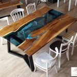meja makan resin kayu jati