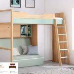 tempat tidur tingkat kayu murah warna natural