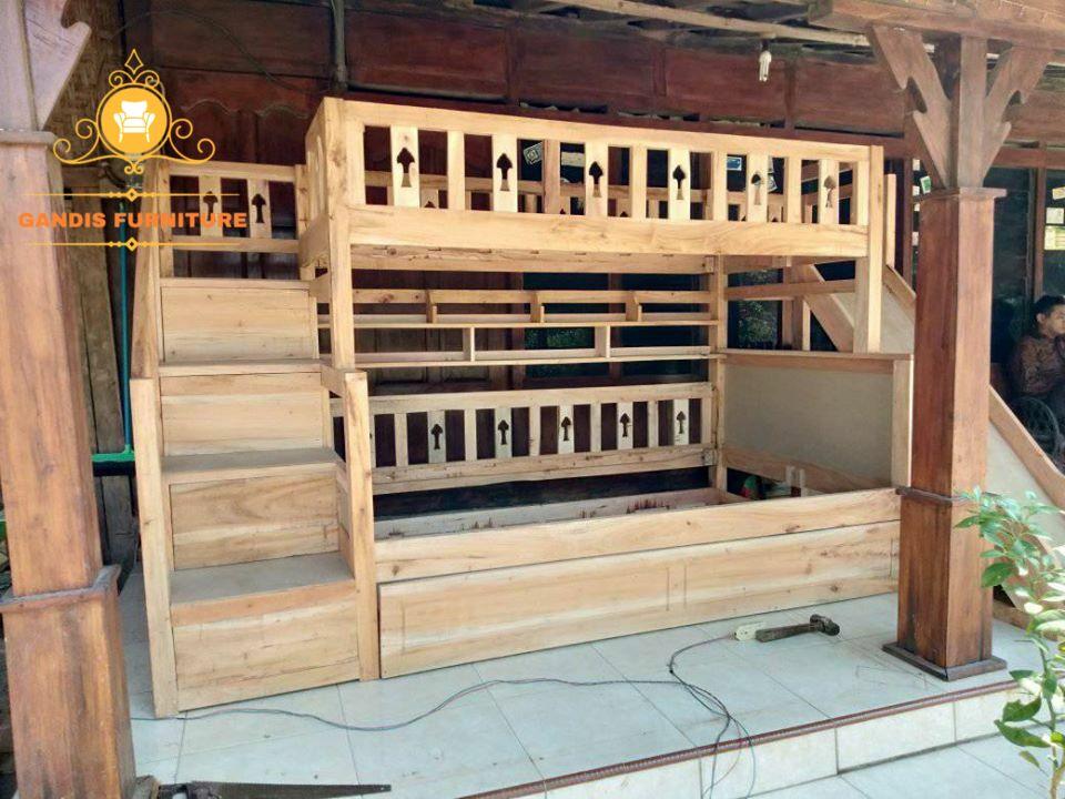 tempat tidur tingkat murah kayu jati