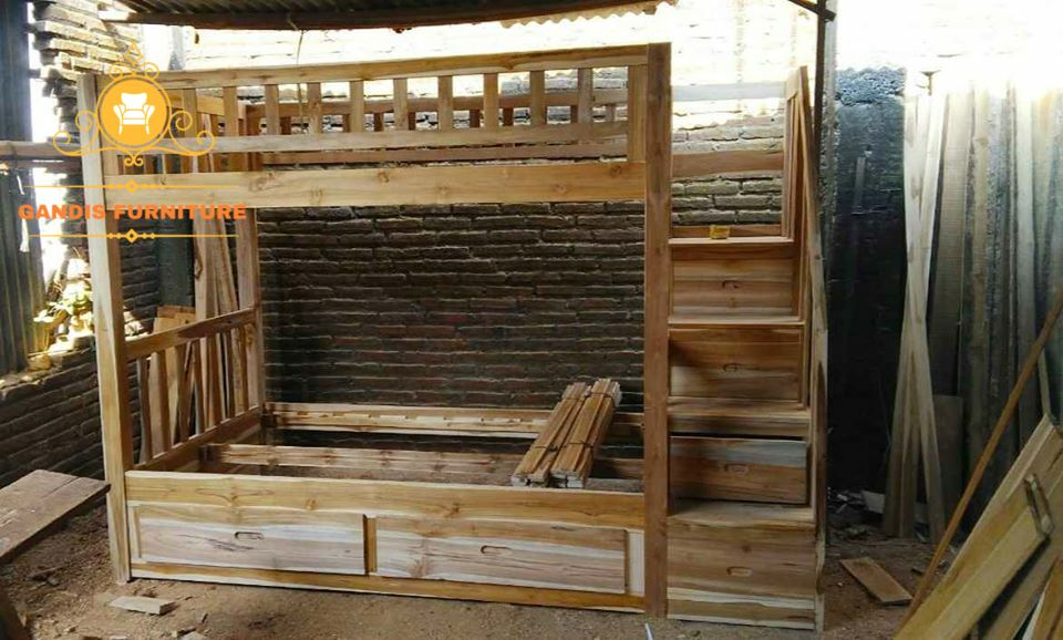 tempat tidur tingkat murah minimalis kayu jati