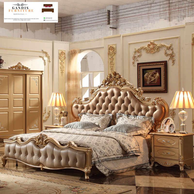 tempat tidur mewah  emas